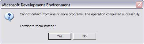 Cannot detach from one or more programs: The operation completed successfully.