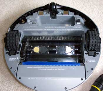 Inspecting the underside of Roomba