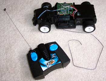 The stripped down R/C car.