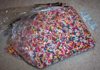 Rainbow sprinkles and silica gel packets