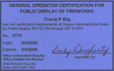 General Operator Certification for Public Display of Fireworks