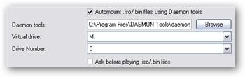 Ensure that the Daemon Tools section in MediaPortal points to the proper virtual drive.