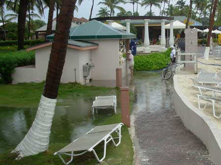 The rain flooded out the paths at the resort in Aruba.