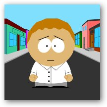 Stu as a South Park character
