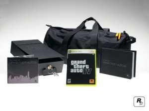 Soundtrack CD, lockbox, duffel bag, game, and book.