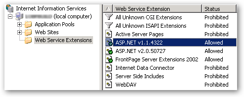Web Service Extensions inside IIS6 admin console.