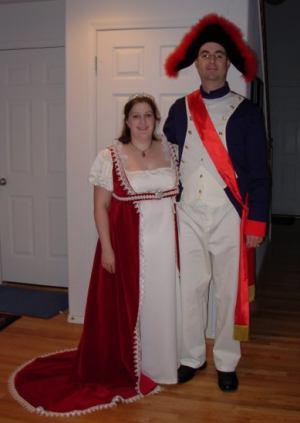 Jenn as Josephine and Trav as Napoleon.