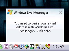You need to verify your e-mail address with Windows Live Messenger. Click here.