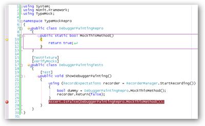 TypeMock outlines mocked methods in the debugger.