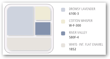 Paint scheme: drowsy lavender, cotton whisper, river valley, and white.