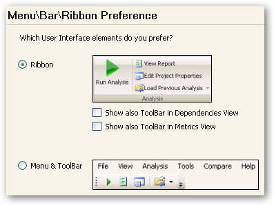 Select the Ribbon interface from the Options menu.
