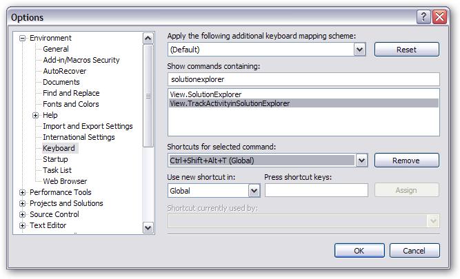 View.TrackActivityinSolutionExplorer key binding