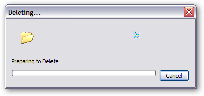 """Preparing to Delete"" dialog"
