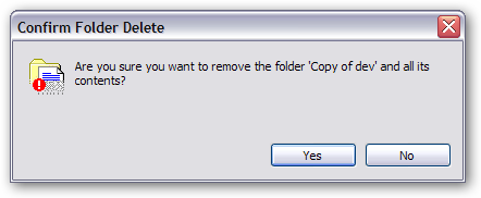 """Confirm Folder Delete"" dialog"