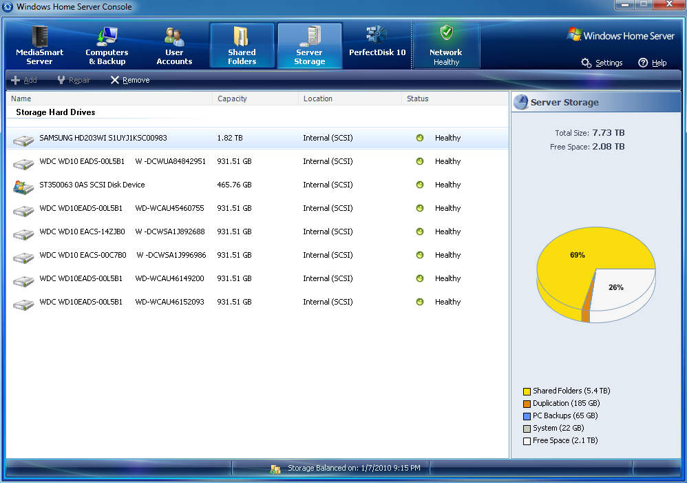 My WHS storage screen - click to enlarge.