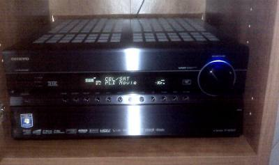 The Onkyo TX-NR3007 in the entertainment center.