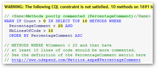 Definition of the CQL query showing not enough comments.