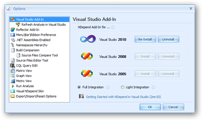 NDepend options screen for installing the Visual Studio plugin.