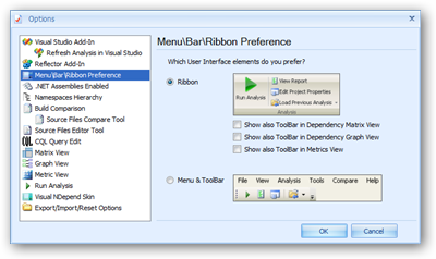 NDepend options for selecting an interface choice.