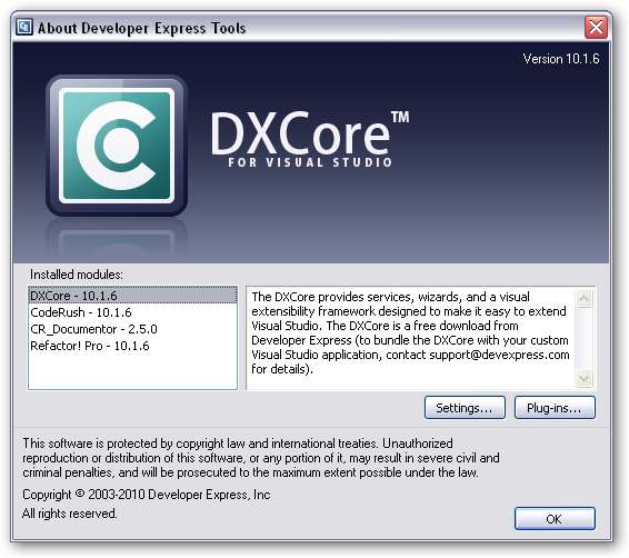"DXCore ""About"" box"