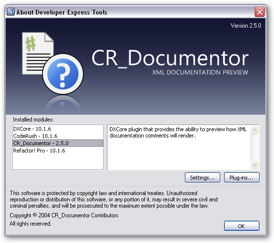 "DXCore ""About"" box showing the CR_Documentor information"