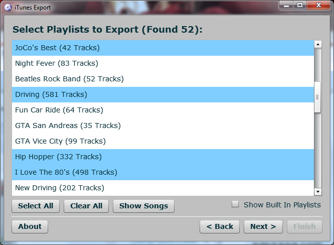 Select the playlists to export.