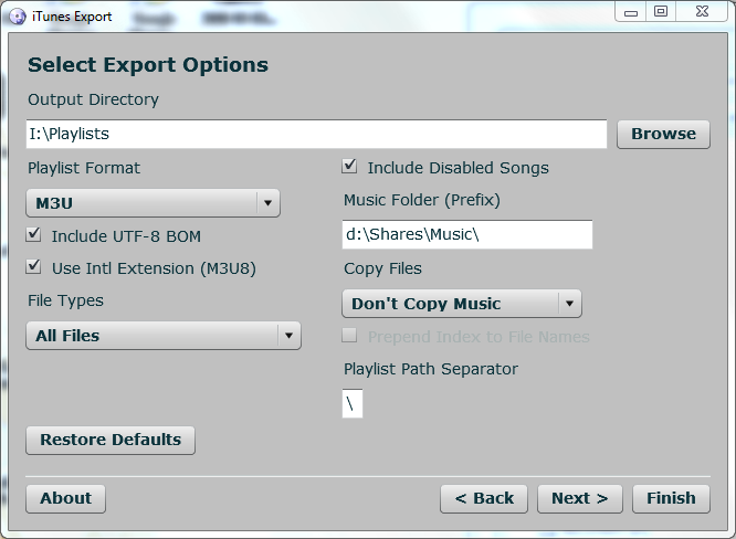 Select export options in iTunes Export