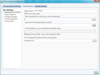 "NCover Explorer ""New Project"" settings dialog"