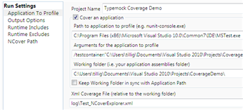 """Application to Profile"" settings in NCover Explorer"