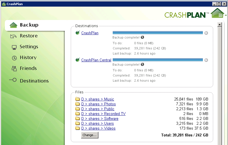 CrashPlan Backup tab showing files to back up.