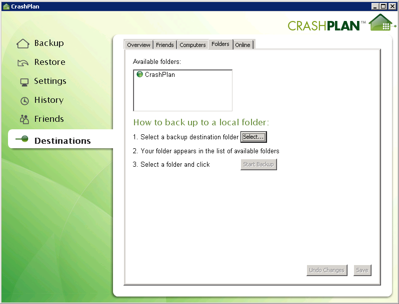 CrashPlan Destinations showing my local folder as a destination.