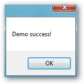 The demo success message box.