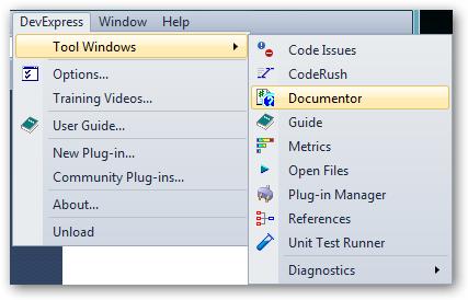 DXCore Tool Window plugin menu integration