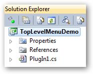 The TopLevelMenuDemo plugin in Solution Explorer