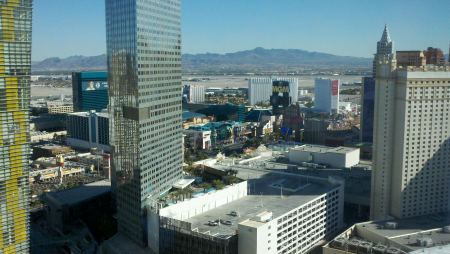 City view from our room at Aria Las Vegas.