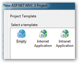 Selecting an empty MVC3 project.