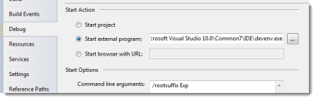 Set Visual Studio to run an Experimental instance for debugging.
