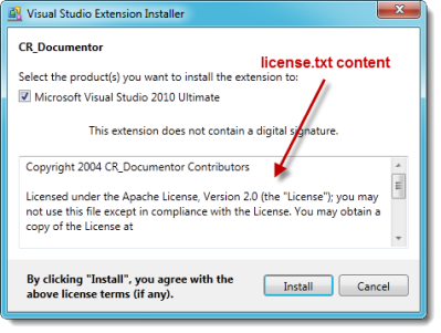 License content shows up in the installer