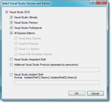 Select all of the VS editions