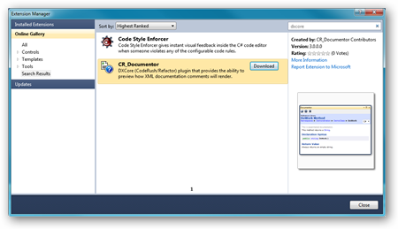 CR_Documentor in the Extension Manager