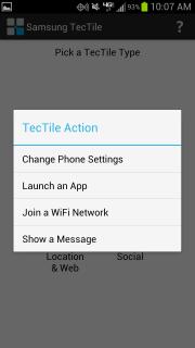 Samsung TecTile app: TecTile Action