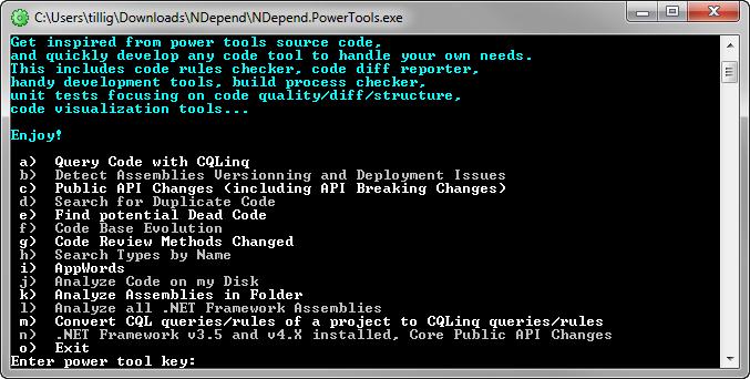 NDepend Power Tools Menu