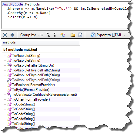 Demo query results in NDepend