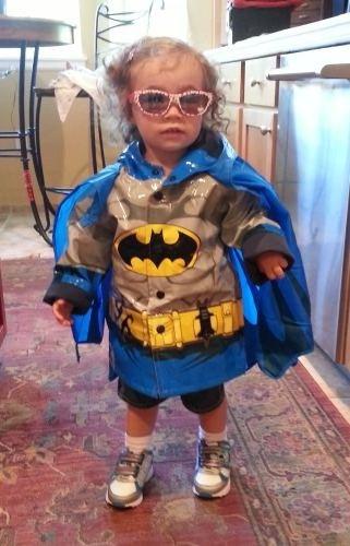 Phoenix in her Batman raincoat