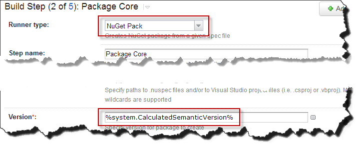 On the NuGet Pack step use the new version variable.