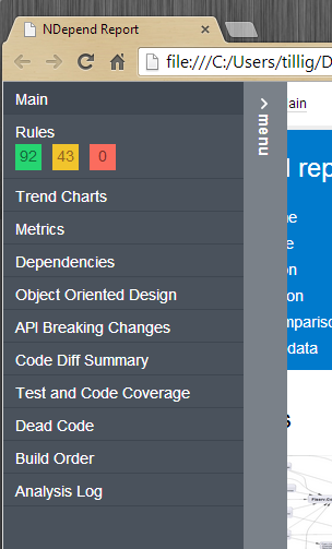 NDepend report menu