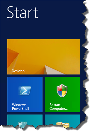 Restart shortcut pinned to Start menu