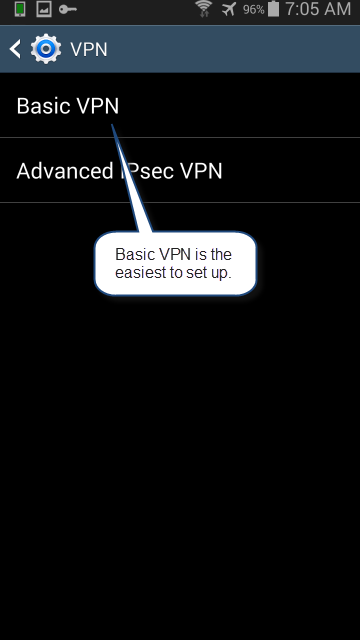 "Choose ""Basic VPN"""