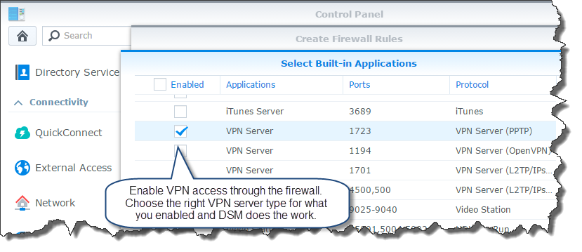 Select the VPN from the list of applications