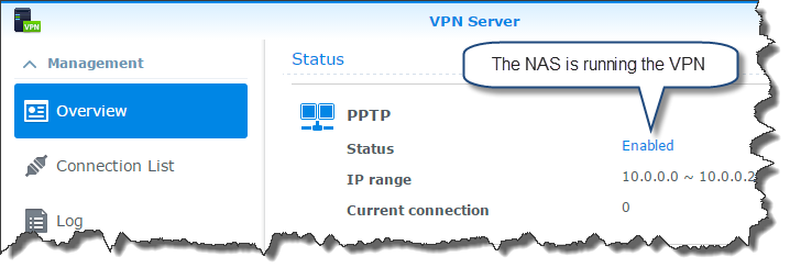 My overview tab after the VPN has been enabled